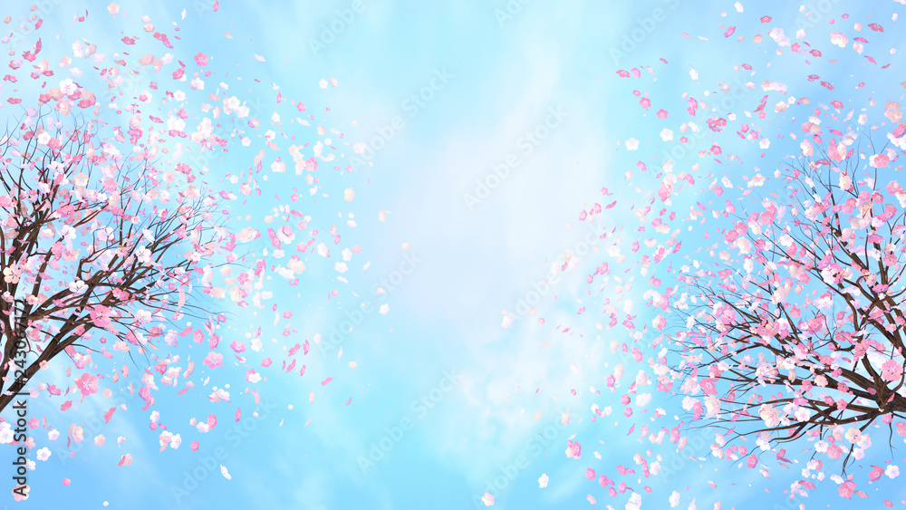 Fototapety, obrazy: 3d rendering picture of cherry blossom against blue sky.