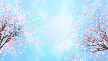 3d Rendering Picture Of Cherry Blossom Against Blue Sky.