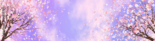 3d rendering picture of cherry blossom against purple sky. - 243067171
