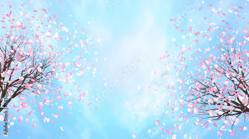 Foto  3d rendering picture of cherry blossom against blue sky.
