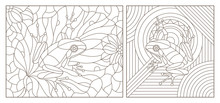 Set Of Contour Illustrations Of Stained Glass Windows With Frogs, Dark Contours On A White Background