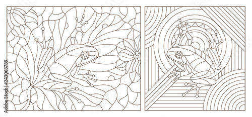 Set of contour illustrations of stained glass Windows with frogs, dark contours on a white background #243068789