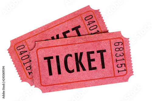 Cuadros en Lienzo Two old red entrance tickets isolated white