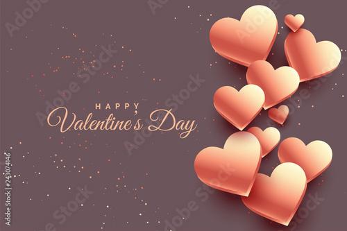Obraz na płótnie 3d rose gold hearts valentine day background
