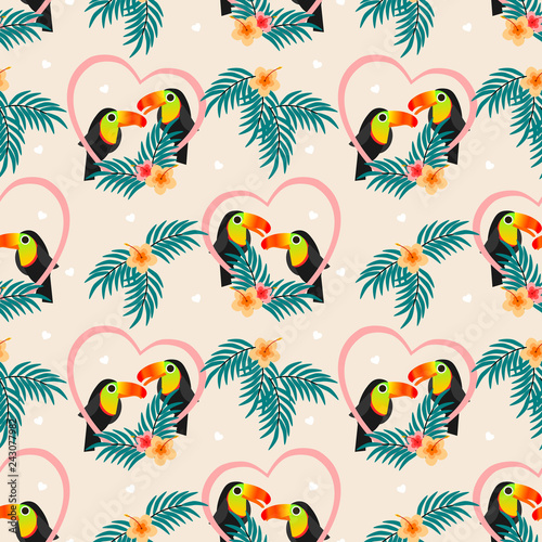 fototapeta na ścianę Cute couple toucan seamless pattern.