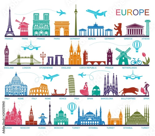 Foto  Collection of Europe detailed silhouettes