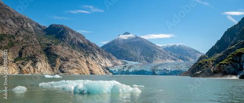 Fényképezés  Retreating Dawes Glacier and Iceberg in Alaska / Receding in Climate Change