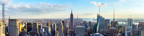 New York City skyline from roof top with urban skyscrapers before sunset Wallpaper Mural