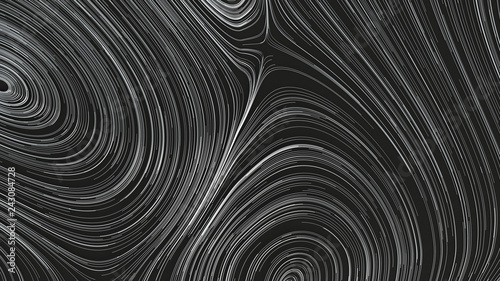 Poster Spirale Smooth curles from metal strings on black background