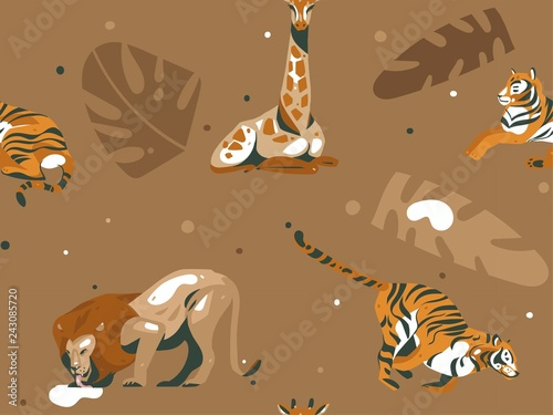 Hand drawn vector abstract cartoon modern graphic African Safari Nature illustrations art collage seamless pattern with giraffe,lion,tigers animals,tropical palm leaves isolated on color background