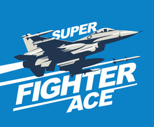 Military Plane In The Sky Fired A Missile. Logo Template Or Print. Fighter Jet Vector Illustration.