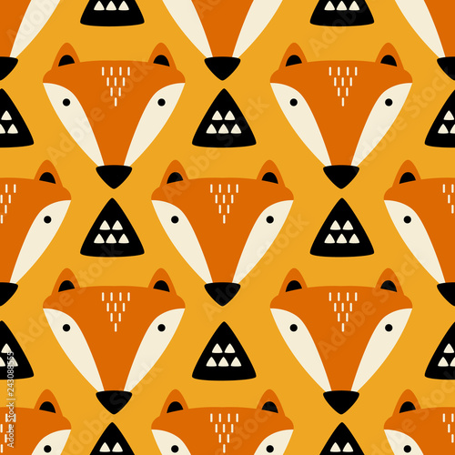 Muzzle of foxes, hand drawn backdrop. Colorful seamless pattern with muzzles of animals. Cute wallpaper, good for printing. Overlapping background vector. Design illustration