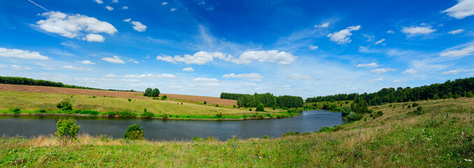 Sunny summer panorama with river