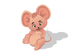Cute Pink Mouse Can Be A Great Character In Your Story.