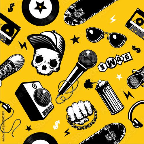 Fototapeten Künstlich Hip-hop seamless pattern with music equipment. Street culture background.