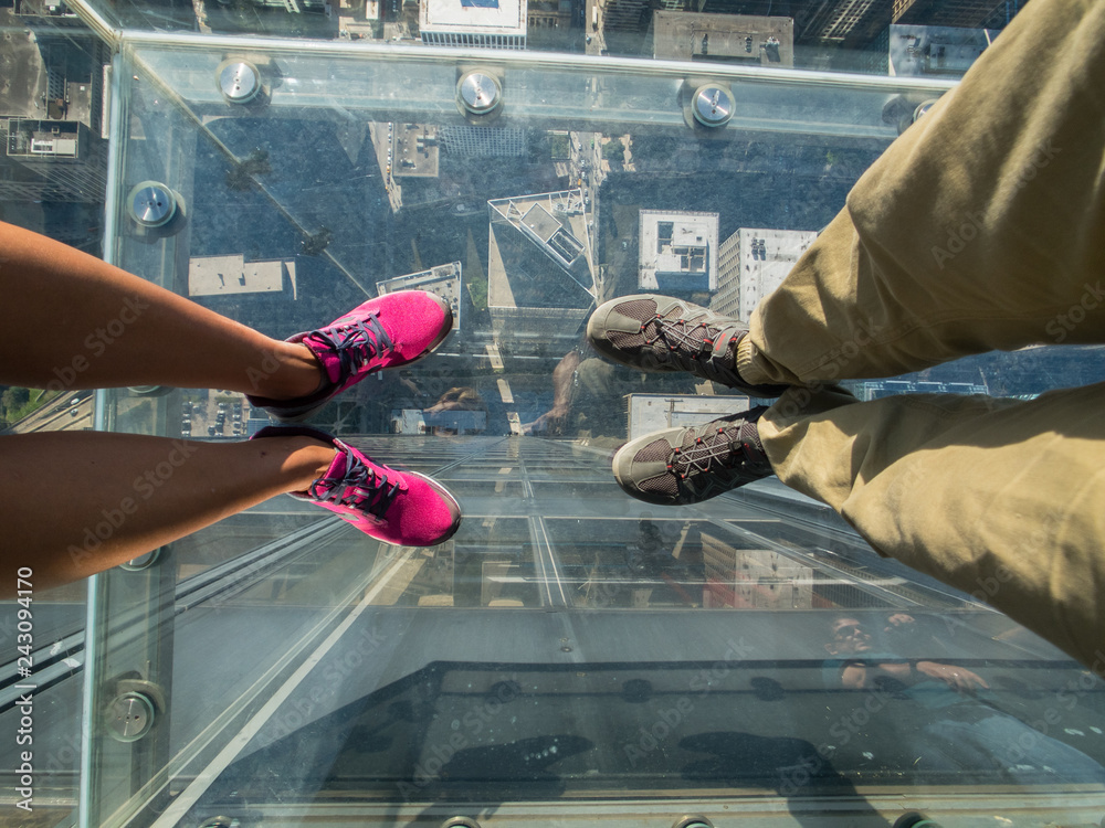 Fototapety, obrazy: Tourists posing on a glass floor