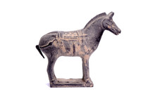 Terracotta Army Sculptures Of Qin Emperor Of China : Horse. Isolated On White Background.