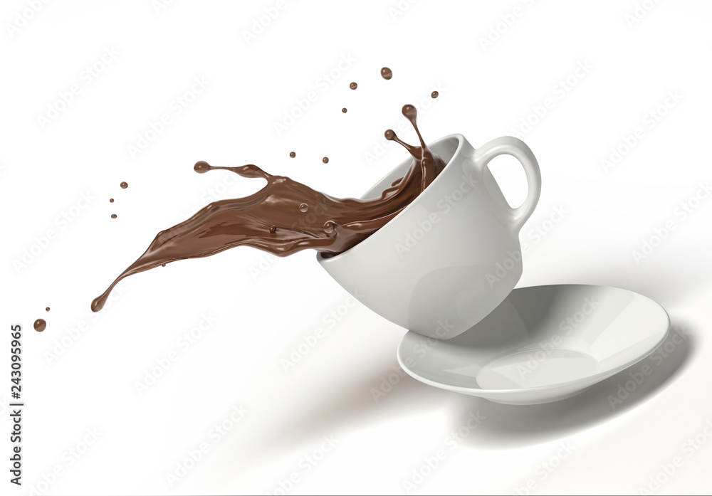 Fototapety, obrazy: White cup with chocolate splash, jumping on a saucer. On white background.