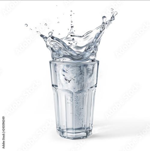 Fototapeta  Glass full of water with splash. Isolated on white background.