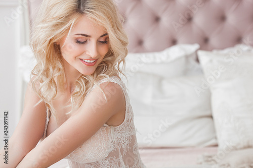 Photographie  Close up portrait of young beautiful woman indoors