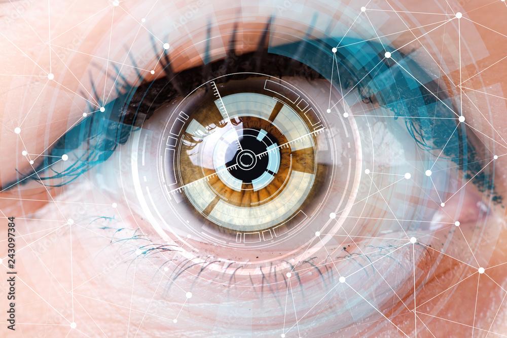 Fototapeta Concept of sensor implanted into human eye