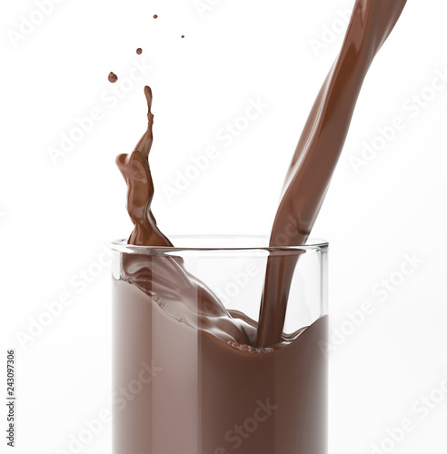 Pouring  liquid chocolate in a glass with splash. on white.