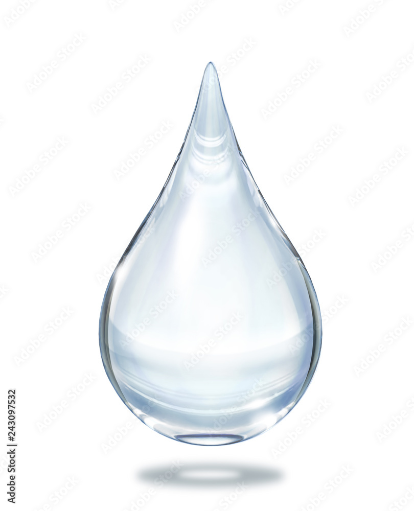 Fototapety, obrazy: Water drop close up view isolated on white background.