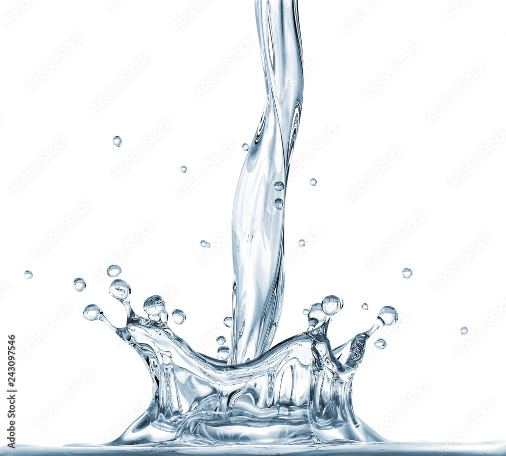 Fototapety, obrazy: Pouring water with crown splash. Side view