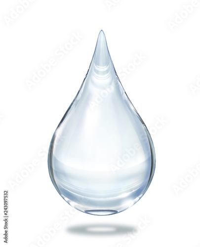 Fotobehang Water Water drop close up view isolated on white background.