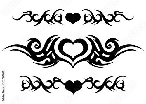 Tattoo tribal design, ornate celtic pattern with heart, tattoo strip around the Fototapeta