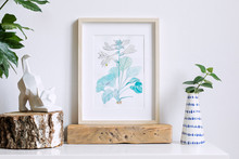 Home Interior Floral Poster Mock Up With Vertical Wooden Photo Frame, Design Vase With Flower, Cat Figure On White Wall Background. Concept Of White Shelf.