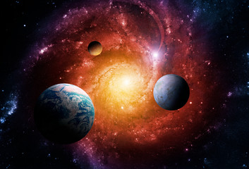 Naklejka Na szybę Planets of the solar system are attracted by the center of the galaxy and a massive black hole. Elements of this image furnished by NASA.