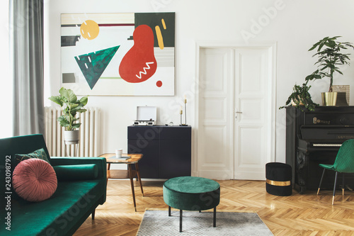 Fotomural Luxury home interior with design velvet sofa, armchair, tables, pouf, commode and accessroies