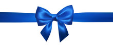 Realistic Blue Bow With Horizontal Blue Ribbons Isolated On White. Element For Decoration Gifts, Greetings, Holidays. Vector Illustration
