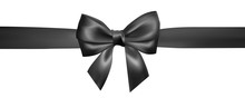 Set Of Realistic Black Bow With Black Ribbon. Element For Decoration Gifts, Greetings, Holidays, Valentines Day Design. Vector Illustration