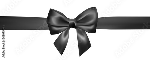 Photo Set of Realistic black bow with black ribbon