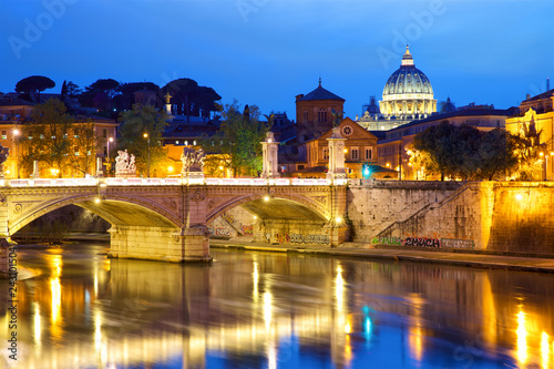 Poster Centraal Europa View of Vatican City in Rome at dusk, Italy