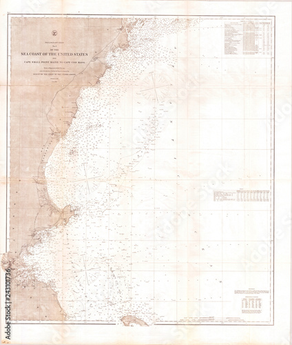 Old Map Of The New England Coast 1865 Us Coast Survey Buy This - Map-of-us-in-1865