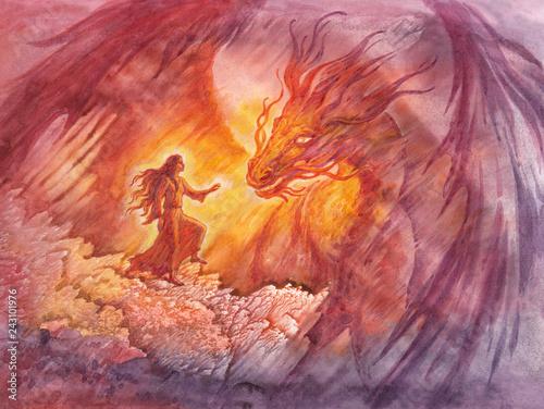 Fototapeta Сказочная иллюстрация с драконом, акварельная живопись, монотипия