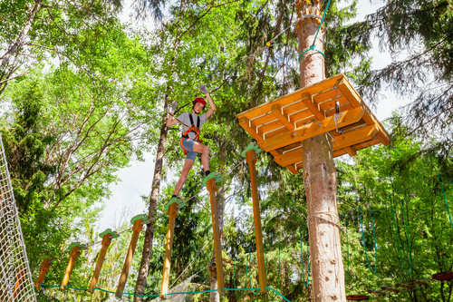 Cuadros en Lienzo Teen boy on a ropes course in a treetop adventure park passing hanging rope obst
