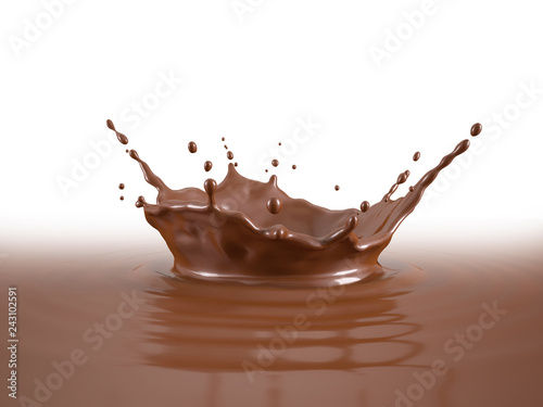Liquid Chocolate crown splash pool with ripples.