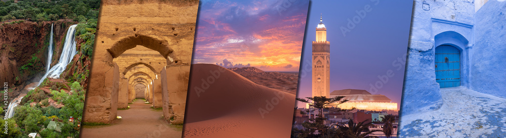 Fototapety, obrazy: Morocco creative travel collage - Moroccan landmarks of Ouzoud Waterfalls (Cascades d'Ouzoud), Royal Stables in Meknes, desert Sahara, Hassan II Mosque in Casablanca and CHEFCHAOUEN blue city