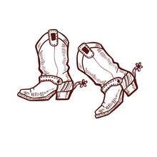 Cowboy Boots In Graphic Hand Drawn Style