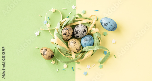 Stylish Easter card with quail Easter eggs.