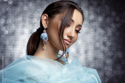 Fotografie, Obraz  beautiful woman with beautiful hair, makeup and with luxury earrings