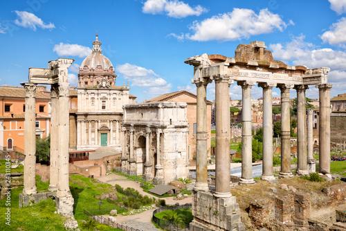 Poster Centraal Europa Ancient ruins in Roman Forum, Rome, Lazio, Italy