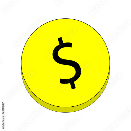 Fotografie, Obraz  Coin with a dollar sign.