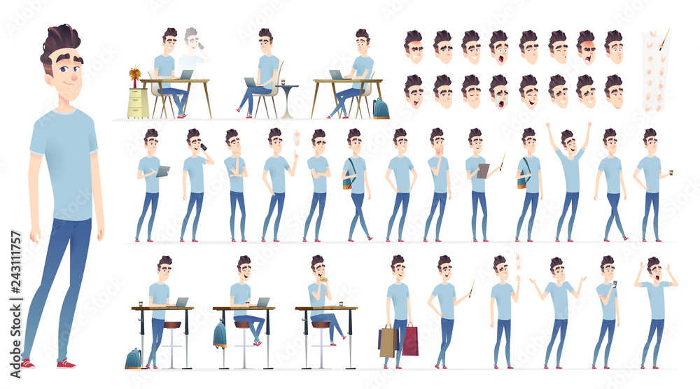 Fototapeta Young man character collection. Set of different poses and situation. Modern flat cartoon style.