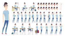 Young Man Character Collection. Set Of Different Poses And Situation. Modern Flat Cartoon Style.