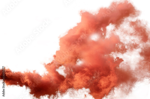 Poster Fumee Red and orange smoke isolated on white background